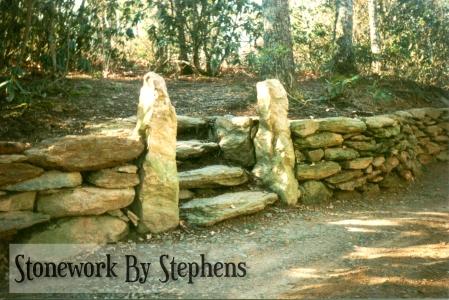 Native Stone Pillars, Steps, Wall